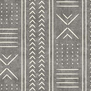 grey mud cloth - arrow cross dot - mudcloth home decor tribal - LAD19