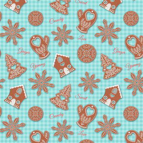 Gingerbread Cookies on Teal Gingham