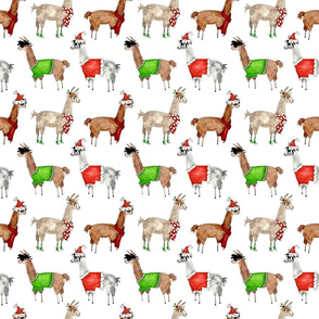 Follow the Lleader|Christmas Llamas on White|Renee Davis