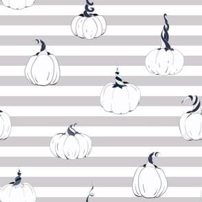 Magical Pumpkins on horizontal stripes seamless pattern background.