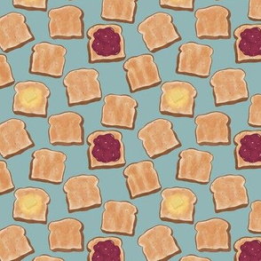 Toast with Jam on Blue - Small