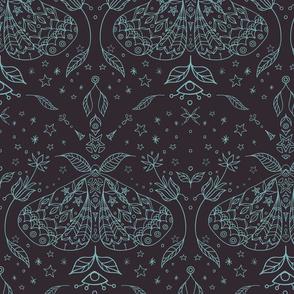 Magical Forest Moths Line Art seamless pattern background.
