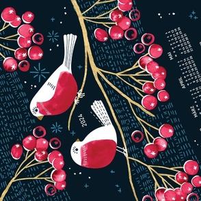 German 2022 Calendar, Monday / Winter Berries and Birds
