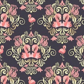 Vector seamless pattern with flamingos and golden ornaments