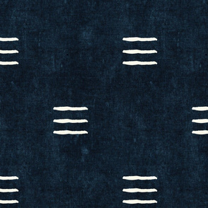 triple dash - mud cloth - indigo - mudcloth farmhouse tribal - LAD19