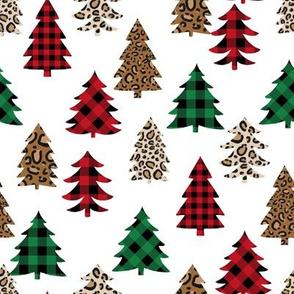 leopard print christmas trees - leopard print, buffalo plaid, red and green, christmas tree, christmas leopard print, holiday leopard - white