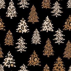 leopard print christmas trees - leopard print, christmas tree, christmas leopard print, holiday leopard -black