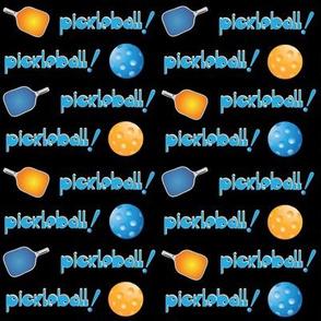Pickleball Row Blue Orange on Black