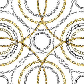 Gold and silver chain flat vector seamless