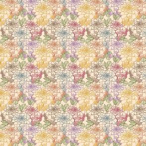 MultiColor Dahlia Flower Line Art