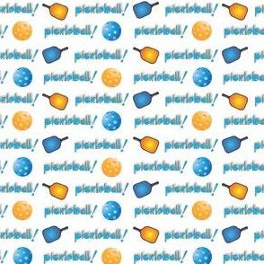 Pickleball Row Blue & Orange On White