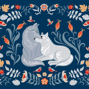 Tea Towel with Wolves