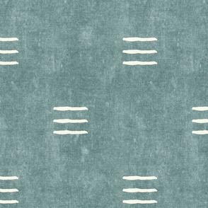 triple dash - mud cloth - dusty blue - mudcloth farmhouse tribal - LAD19