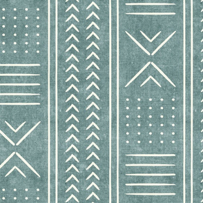 dusty blue mud cloth - arrow cross dot - mudcloth home decor tribal - LAD19