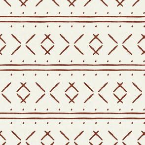 mud cloth stitch - rust on bone - mudcloth tribal - LAD19