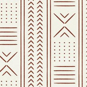 rust on bone mud cloth - arrow cross dot - mudcloth home decor tribal - LAD19