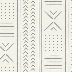 grey on bone mud cloth - arrow cross dot - mudcloth home decor tribal - LAD19