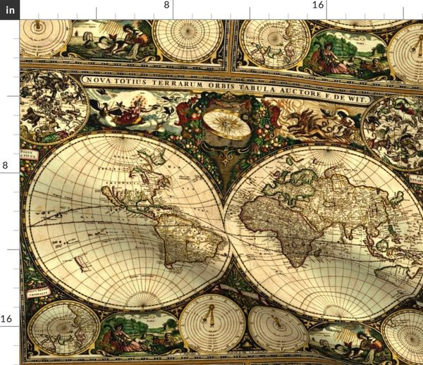 Fabric by the Yard Old World Map