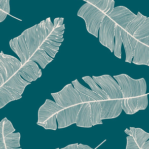 LARGE tropical banana leaves - forest and pale peach