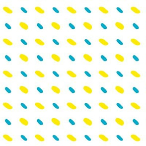 Vector yellow and blue diagonal stitches on white background, seamless pattern