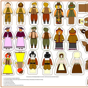 Fall Scarecrow and Pilgrims Cut  & Sew Doll Ornaments Group