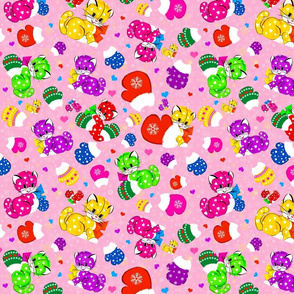 Sweet Kittens In Mittens Pink