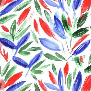 Watercolor leaves ll red, blue, green
