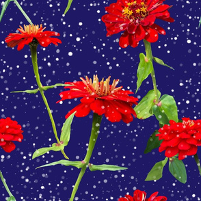 Midnight Snowfall in the Zinnia Forest