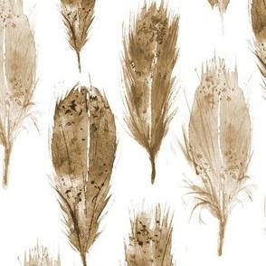 Boho watercolor feathers ll earthy softness