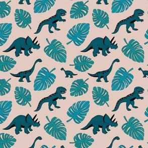 Dinosaur jungle botanical dino garden leaves boys blue and teal SMALL
