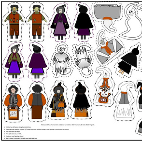 Halloween Witch, Ghost and Frankenstein Cut & Sew Doll Ornaments Group