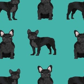 black frenchie fabric - black french bulldog, black dog, french bulldog fabric, frenchie fabric -  teal