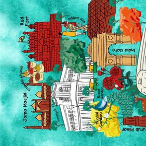 Hustling Bustling Colors of Delhi Tea Towel- Doodle Sketch Map