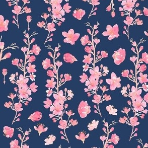 Watercolor Cherry Blossom Navy