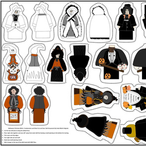 Halloween Victorian Witch, Ghosts and Monsters Cut & Sew Dolls Ornaments Group