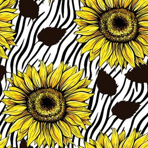 Modern Sunflowers and Black Leaves Silhouettes