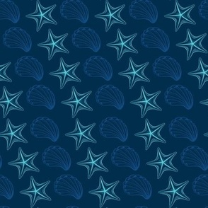 Neon Light Seashells and Stars