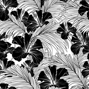 Hibiscus and Palm Leaves in Black and White