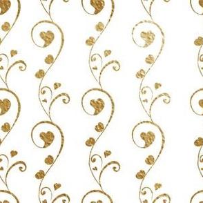 Golden Ornamental Hearts on White