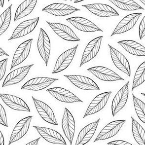 Simple Black and White Leaves