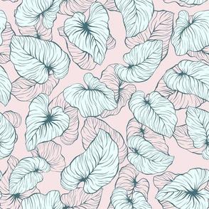 Pink Pastel Palm Leaves
