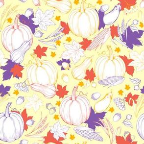Thanksgiving pumpkins and harvest vegetables