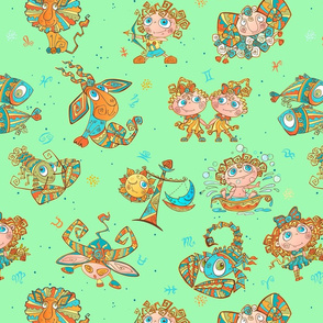 Boho Zodiac Juvenile Green