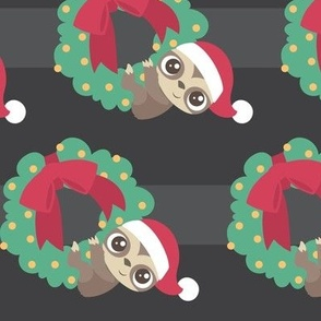Christmas Sloth Hanging from Wreath