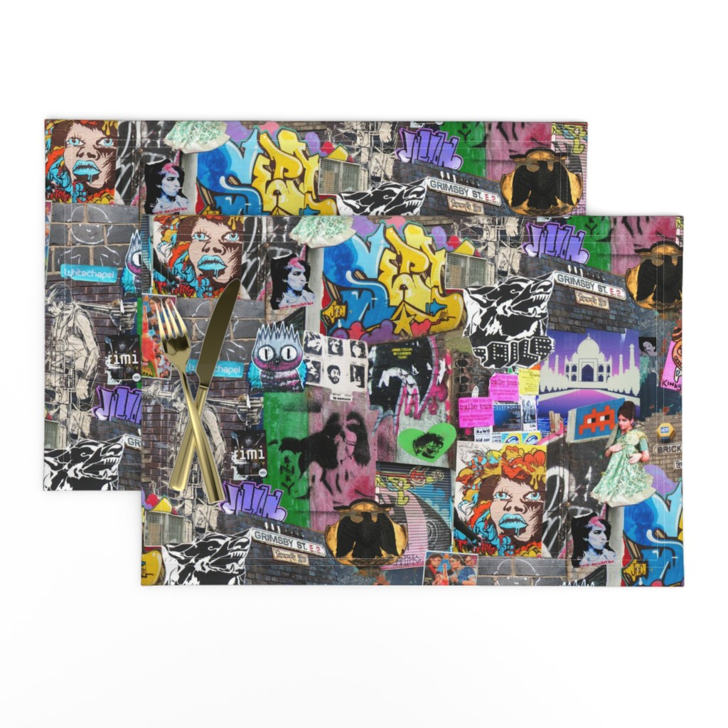 Lamona Cloth Placemats featuring Brick Lane Collage by teja_jamilla