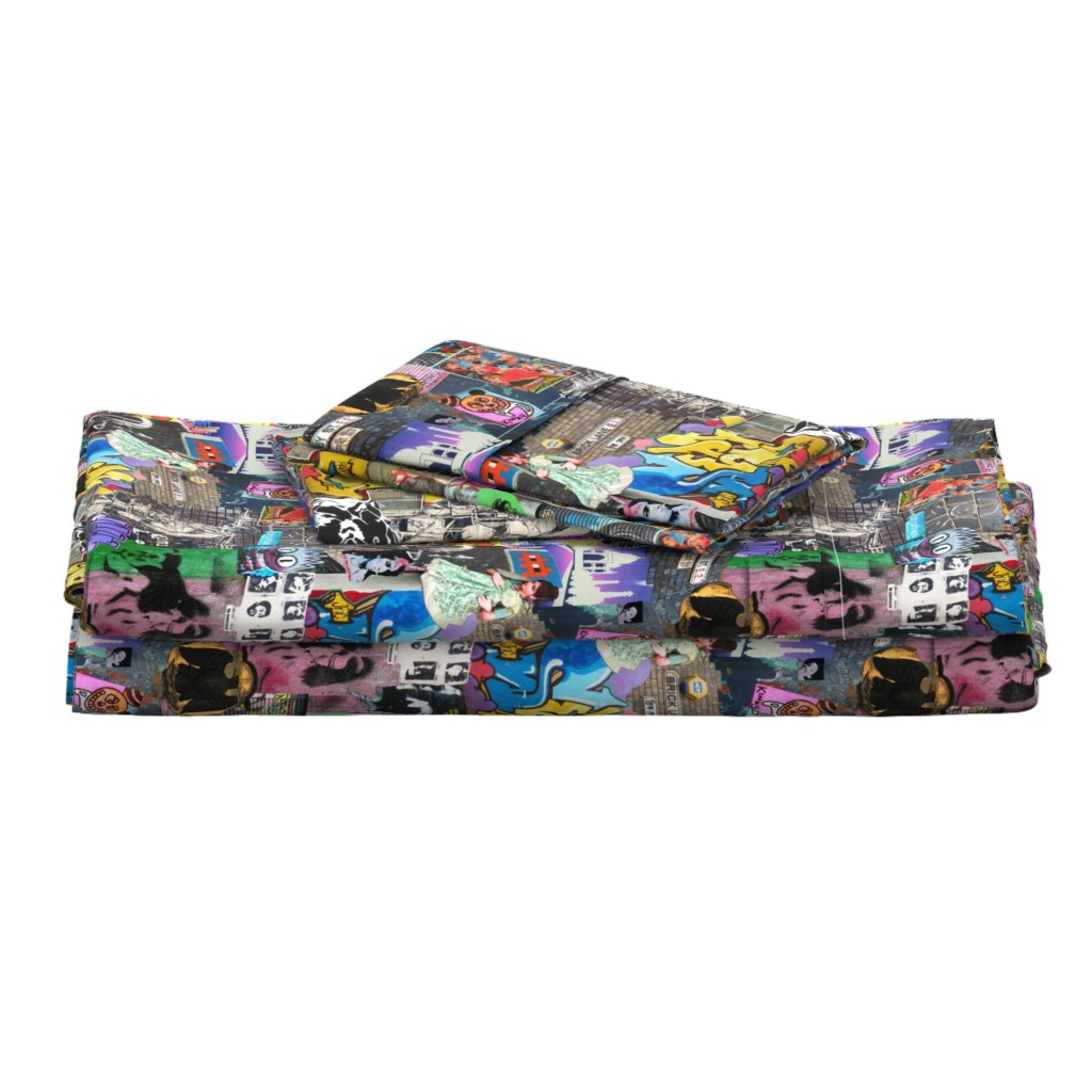 Langshan Full Bed Set featuring Brick Lane Collage by teja_jamilla