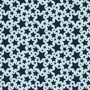 Dark Blue Stars on Light Blue Background