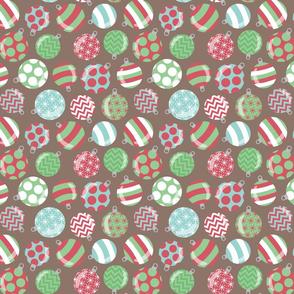 Christmas Ornaments on Brown