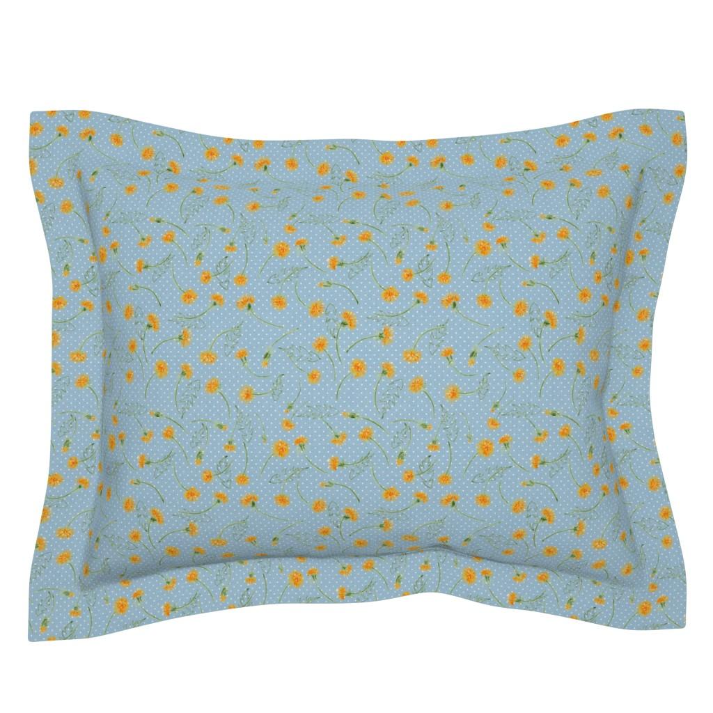 "Sebright Pillow Sham featuring Helen's Vintage Dandelions (dusty blue) 8"" by helenpdesigns"