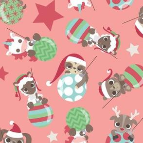 Christmas Ornament Animals on Pink